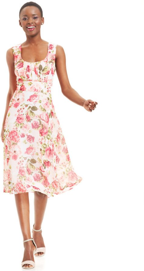 Connected Rose-Print Tea-Length Dress by Connected