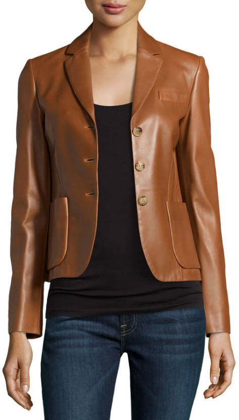 Michael Kors Three-Button Leather Jacket, Luggage by Michael Kors